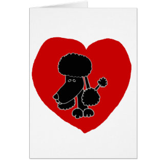 Funny Black Poodle Heart and Love Greeting Card