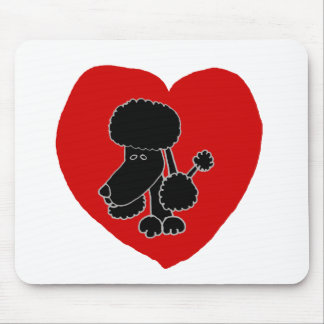 Funny Black Poodle Heart and Love Mouse Pad