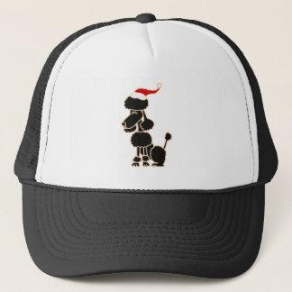 Funny Black Poodle in Santa Hat Christmas Art