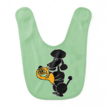 Funny Black Poodle Playing French Horn Baby Bib