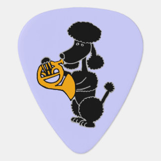 Funny Black Poodle Playing French Horn Guitar Pick