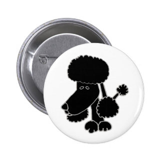 Funny Black Poodle Puppy Dog Cartoon 2 Inch Round Button
