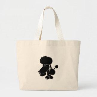 Funny Black Poodle Puppy Dog Cartoon Jumbo Tote Bag