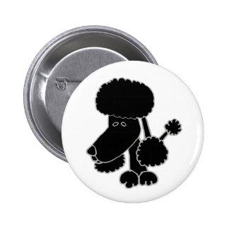 Funny Black Poodle Puppy Dog Cartoon Pinback Button