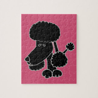 Funny Black Poodle Puppy Dog Cartoon Puzzle
