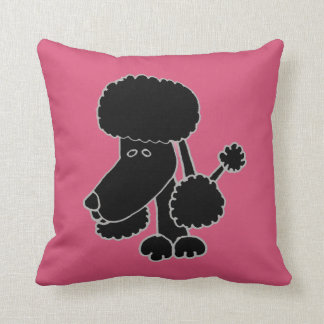 Funny Black Poodle Puppy Dog Pillow