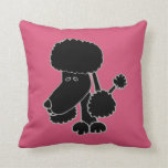 Funny Black Poodle Puppy Dog Pillows