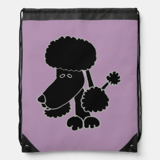 Funny Black Poodle Puppy Dog Drawstring Bags