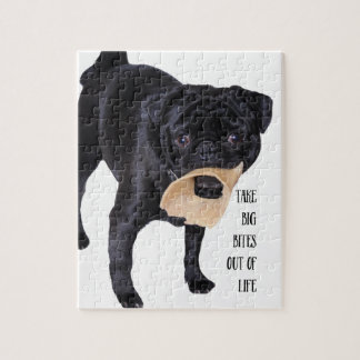 Funny Black Pug  Take Big Bites out of Life Puzzle