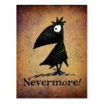 Funny Black Raven by Edgar Allen Poe - Nevermore Postcard