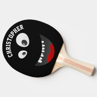 Funny Black Scary Face Novelty Personalized Name Ping-Pong Paddle