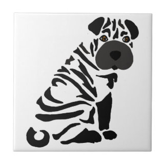 Funny Black Shar Pei Dog Abstract Art Tile