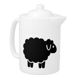 Funny black sheep teapot