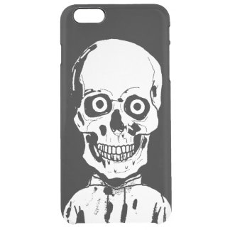 Funny black skull clear iPhone 6 plus case