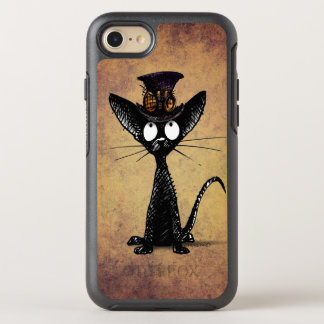 Funny Black Steampunk Cat in a Steampunk Hat OtterBox Symmetry iPhone 7 Case