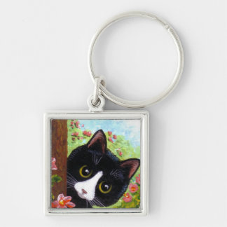 Funny Black Tuxedo Cat Creationarts Keychain