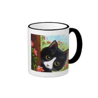 Funny Black Tuxedo Cat Creationarts Ringer Mug