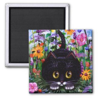 Funny Black Tuxedo Cat Flowers Creationarts 2 Inch Square Magnet