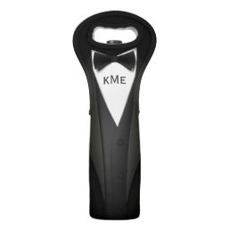 Funny Black Tuxedo Suit - Custom Monogram Text Wine Bag