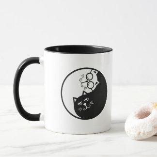 Funny Black White Couple Persian Cat Mug