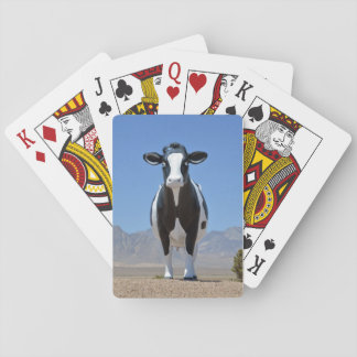 Funny Black White Dairy Cow Statue Desert Farm Playing Cards