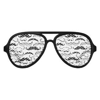 Funny Black & White Mustache Design Aviator Sunglasses