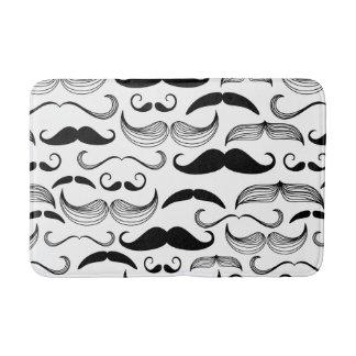 Funny Black & White Mustache Design Bath Mat