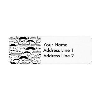 Funny Black & White Mustache Design Label
