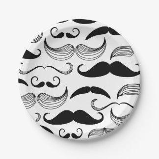 Funny Black & White Mustache Design Paper Plate