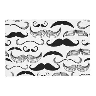 Funny Black & White Mustache Design Placemat