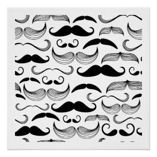 Funny Black & White Mustache Design Poster