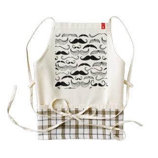 Funny Black & White Mustache Design Zazzle HEART Apron