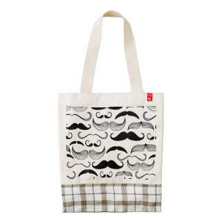 Funny Black & White Mustache Design Zazzle HEART Tote Bag
