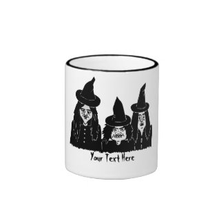 funny black witches spooky scary halloween design ringer mug