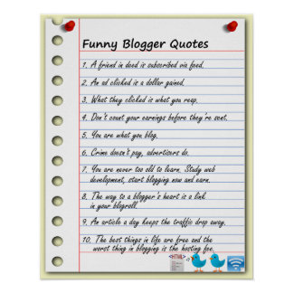 Funny Blogger Quotes Poster