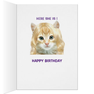Funny Blonde Pussy Birthday Card Greeting Card