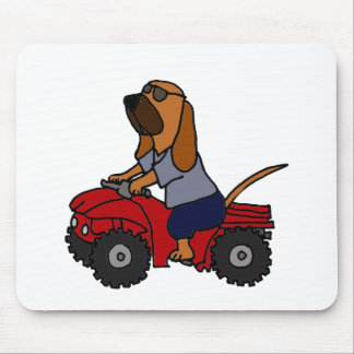 Funny Bloodhound Driving Red ATV Mouse Pad