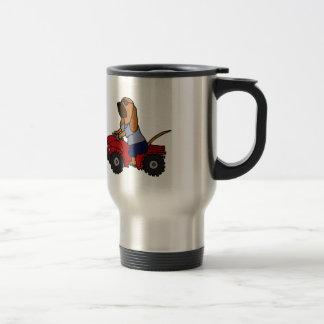 Funny Bloodhound Driving Red ATV Travel Mug