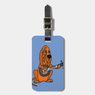 Funny Bloodhound Playing Banjo Bag Tag