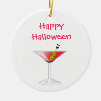 Funny Bloody Martini with Skull Halloween Double-Sided Ceramic Round Christmas Ornament