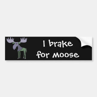 Funny Blue and Green Moose Cartoon Bumper Sticker