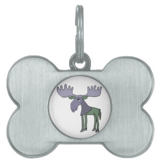 Funny Blue and Green Moose Cartoon Pet Name Tag