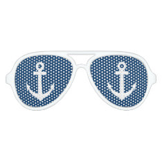 Funny Blue And White Nautical Anchor Party Shades at Zazzle