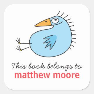 Funny blue bird animal cartoon bookplate book square sticker