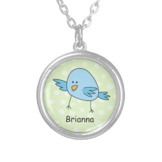 Funny blue bird kids animal cartoon personalized round pendant necklace