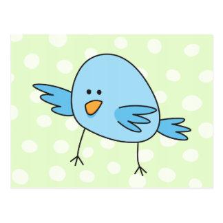 Funny blue bird kids animal cartoon postcard