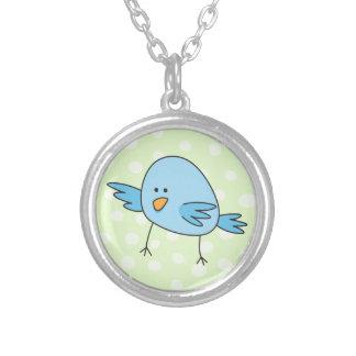 Funny blue bird kids animal cartoon round pendant necklace