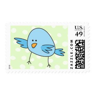 Funny blue bird kids animal cartoon stamp