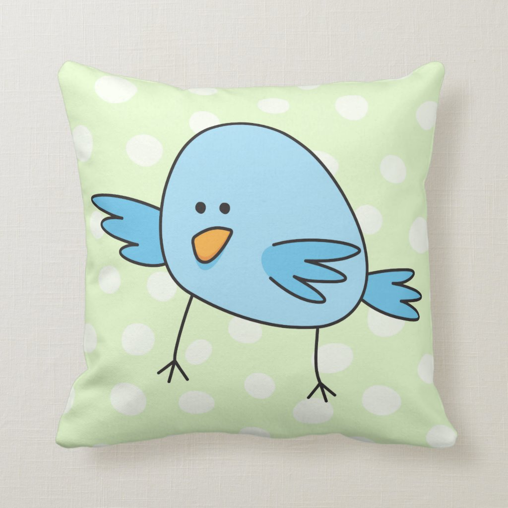 Funny blue bird kids animal cartoon Throw Pillows