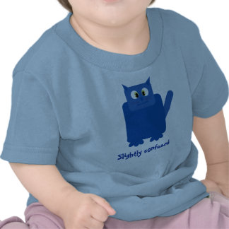 Funny blue cartoon cat Slightly Confused baby Tee